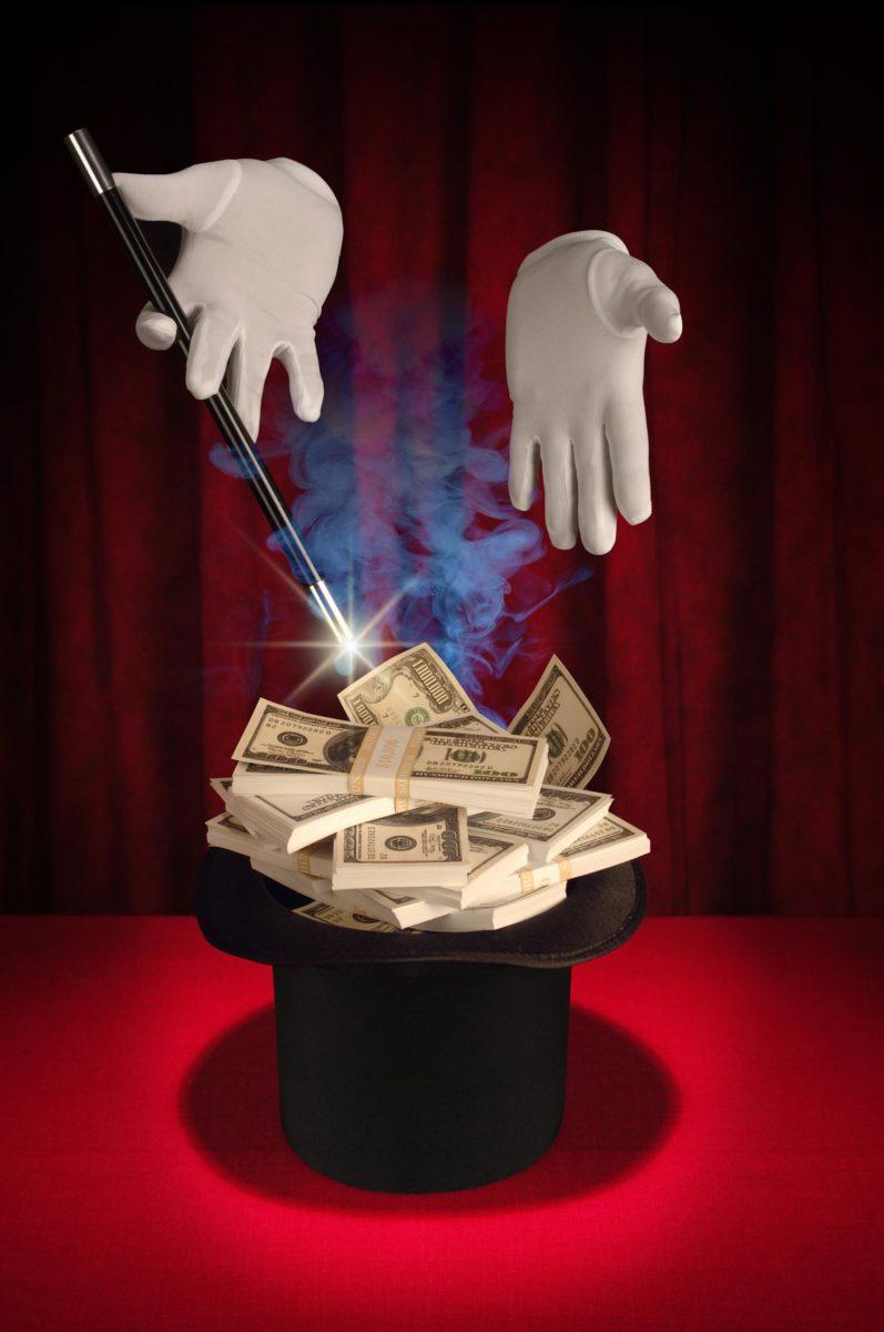 фокусник с деньгами
